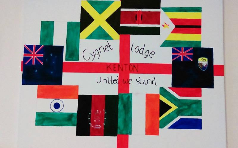 'United We Stand' -Cygnet Lodge Kenton, staff and service users promoting equality and diversity. Artwork by EB.
