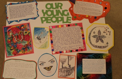 Presentation of artwork and written pieces by some of the service users on Knole Ward