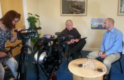 Filming the interview between Steve Miller and Ian Callaghan for the My Shared Pathway video