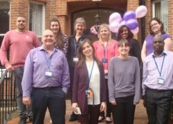 Staff from Cygnet Hospital Harrow wearing purple and pink for World Autism Awareness Day