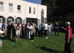 Staff lining up for the obligatory egg and spoon relay race