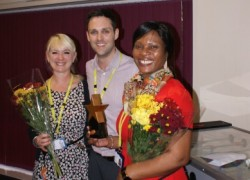 Rachel Kitten, Head of OT; Joe Thomas, Hospital Manager and Beatrice Komieter, Ward Manager with their award