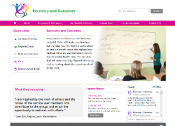 Screen shot of the home page of the new Recovery and Outcomes website