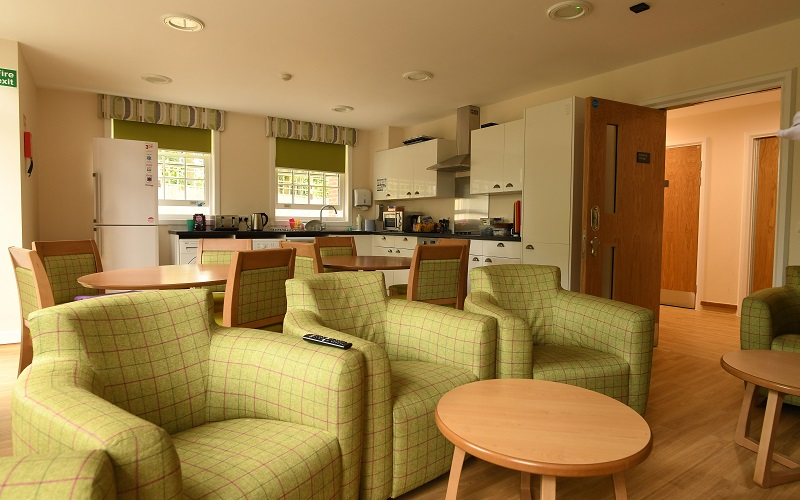 The shared kitchen and lounge in Milligan House