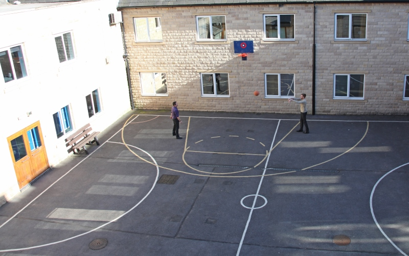 Courtyard and basketball court at Cygnet Hospital Wyke.