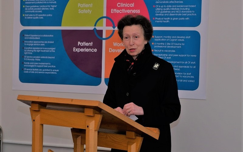 HRH The Princess Royal addressing staff and guests