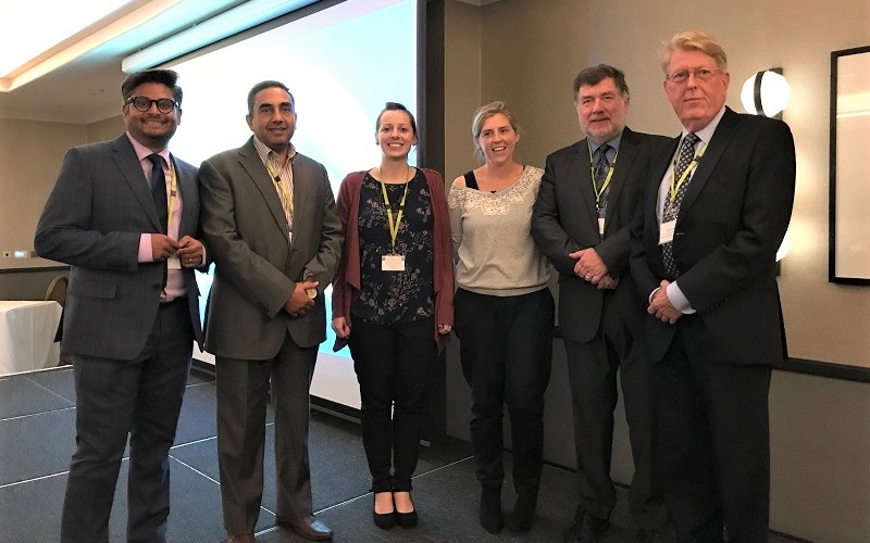 Our conference speakers (from left to right); Dr Srinivas Lanka, Dr George El-Nimr, Pippa Joseph, Dr Hayley Day, Professor Mike Barnes, Dr David Craufurd.