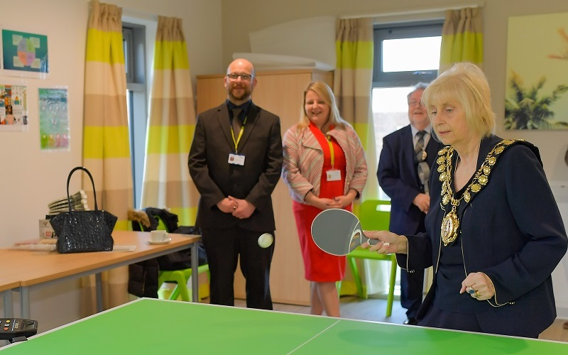 The Mayor of Barnsley showing off her table tennis skills